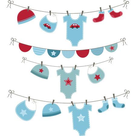Illustration pour Baby Boy Shower set - image libre de droit
