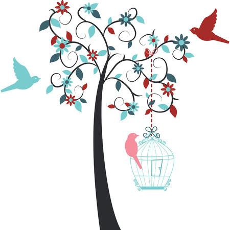 Illustration pour Love Tree,Love Bird - image libre de droit