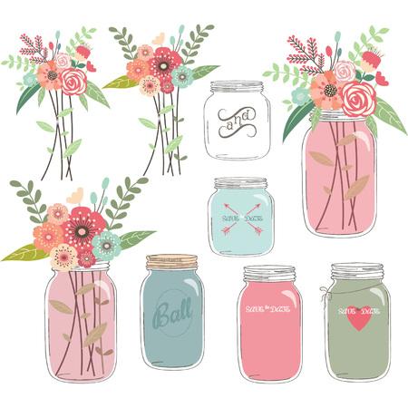 Illustration pour Wedding Floral with Mason Jar - image libre de droit