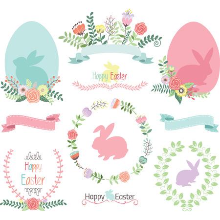 Ilustración de Easter Clip Art.Happy Easter.Easter Egg,Banner,Floral,Laurel,Wreath,Bunny collections. - Imagen libre de derechos