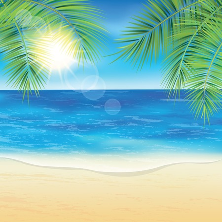 Illustration for Sand beach and the palm branches at sunset time. Vector illustration. - Royalty Free Image
