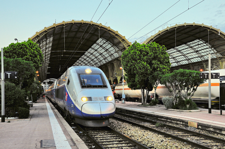 Photo for Nice, France - May 23, 2012: Highspeed train TGV stands by the platform before departure. - Royalty Free Image