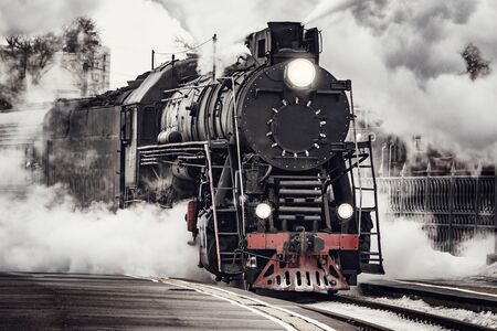 Photo for Steam train departs from Riga railway station. Moscow. Russia. - Royalty Free Image
