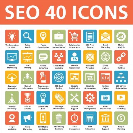 Ilustración de SEO 40 Icons  Search Engine Optimization  - Imagen libre de derechos