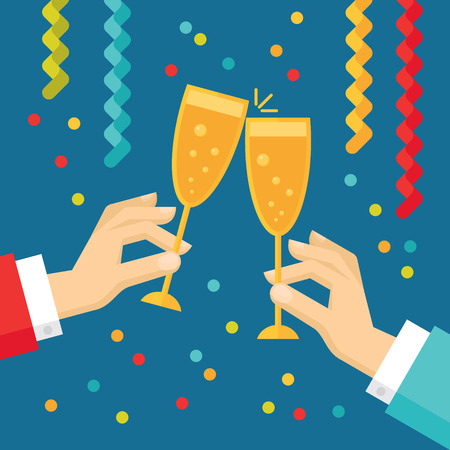 Holiday vector concept illustration in flat style. Human hands with glasses with champagne, streamers and confetti. New year and Christmas flat illustration.