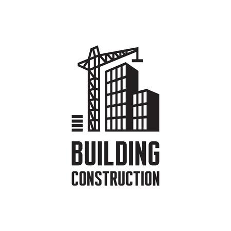 Ilustración de Building construction illustration. Crane and building construction illustration - Imagen libre de derechos
