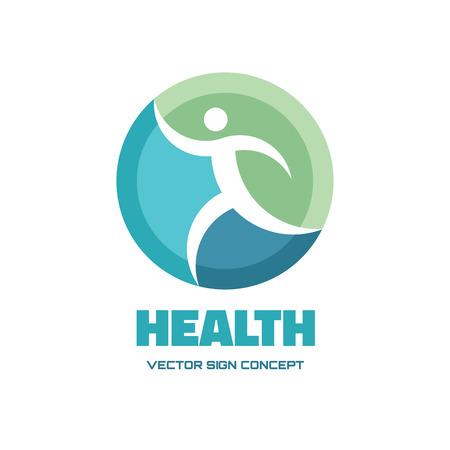 Foto de Health - vector logo concept illustration. Human vector logo. Running man vector sign. Vector logo template. Design element. - Imagen libre de derechos