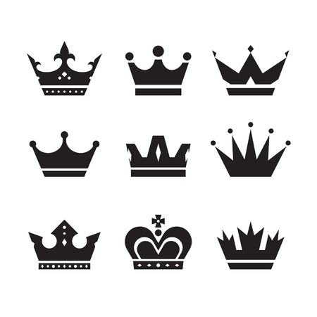 Crown vector icons set. Crowns signs collection. Crowns black silhouettes. Design elements.