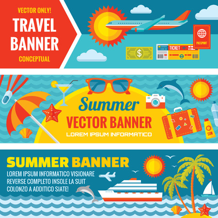 Illustration pour Summer travel decorative horizontal vector banners set in flat style design trend. Summer travel vector backgrounds. Summer travel and transport flat icons. Design elements. - image libre de droit