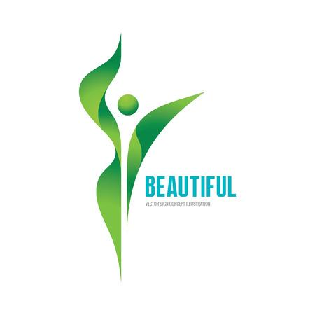 Ilustración de Beatiful - vector logo concept illustration. Health logo. Healthy logo. Beauty salon logo. Fitness logo. Woman logo. Women logo. Human character logo. Leaf logo. Leaves logo. Nature logo. Ecology logo - Imagen libre de derechos
