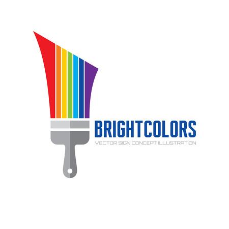 Illustration for Bright color - vector logo concept illustration. Brush paint logo sign. Art logo sign. Rainbow paints logo sign. Paint shop logo sign. Colorful decorative logo. Vector logo template. Design element. - Royalty Free Image