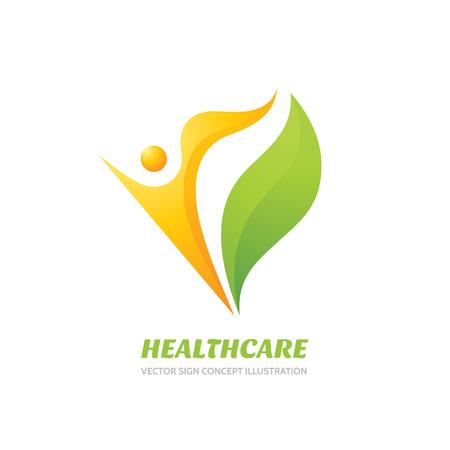 Ilustración de Healthcare vector logo concept illustration. Health logo sign. Healthy logo. Human character logo sign. Leaf logo. Nature logo. Eco logo. Ecology logo. Positive happiness logo. Vector logo template. - Imagen libre de derechos