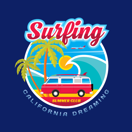 Illustration for Surfing - California dreams - vector illustration concept in vintage graphic style for t-shirt and other print production. Wave, palms, sun, airplane surf and car trailer vector badge illustration. - Royalty Free Image