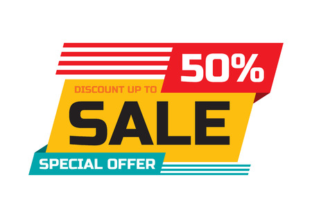 Illustration pour Sale - discount up to 50% - special offer - abstract promotion vector banner. Sale discount concept layout. Design element for advertising print poster or flyer. - image libre de droit