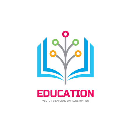 Illustration pour Education vector logo concept illustration. School logo sign. Stylized book and digital network tree illustration. - image libre de droit