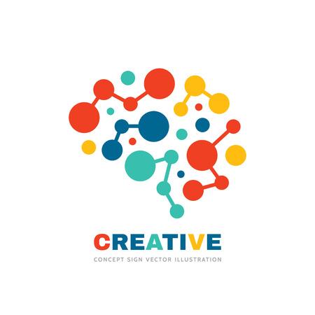 Illustration pour Creative idea - business vector logo template concept illustration. Abstract human brain sign. Geometric colored structure. Mind education symbol. Graphic design element. - image libre de droit
