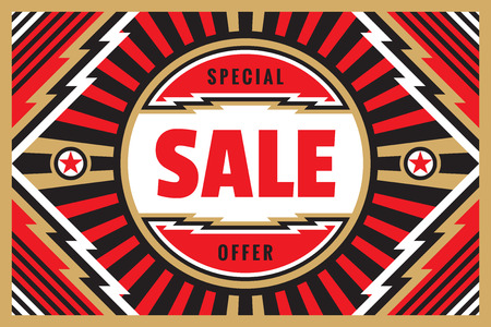 Foto für Sale special offer - geometric horizontal banner template. Concept vector illustration. Discount abstract poster layout. Super power energy style in black, white, red and gold colors. Graphic design. - Lizenzfreies Bild
