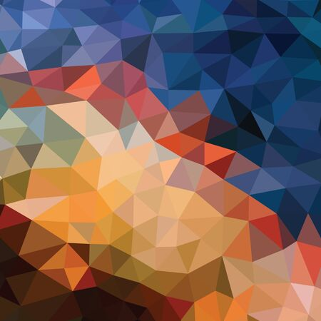 Illustration for Polygonal abstract background - vector pattern in orange, brown, beige, blue colors. Geometric backdrop. Web site wallpaper. - Royalty Free Image