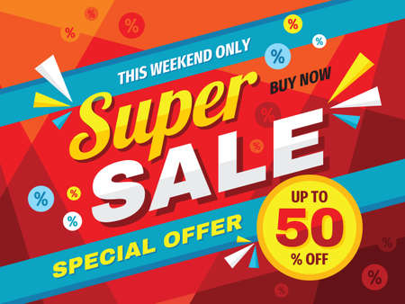 Illustration pour Super sale horizontal banner design. Abstract promotion discount up to 50% off poster. Special offer, this weekend only, buy now. Advertising decorative vector layout. Clearance retail tag. Marketing. - image libre de droit