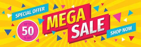 Illustration pour Mega sale concept horizontal banner template design. Discount abstract promotion layout poster. Vector illustration. - image libre de droit