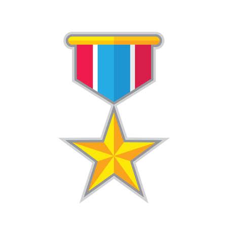 Illustration for Award star medal - concept icon in flat graphic design style. Sign for website, mobile application, presentation, infographic. Reward winner symbol. Vector illustration. - Royalty Free Image