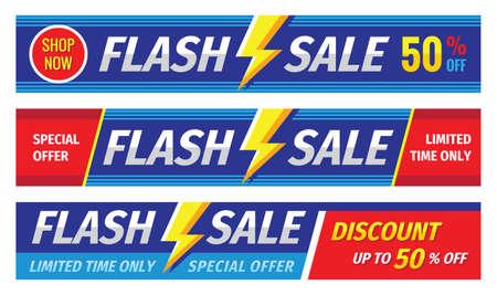Illustration pour Flash sale banner set. Discount up to 50% off. Graphic concept layout. Vector illustration. - image libre de droit