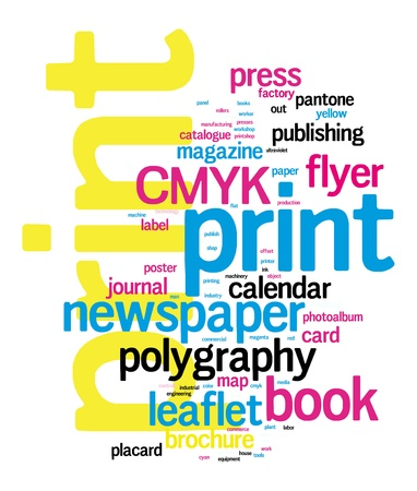 Ilustración de Printing Word Cloud vector concept illustration on black - Imagen libre de derechos