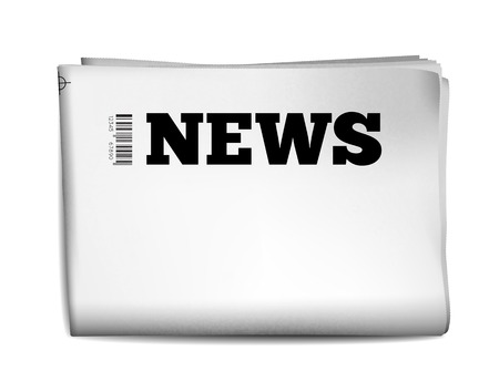 Blank newspaper with perforated edges and texture on white background. Vector illustration