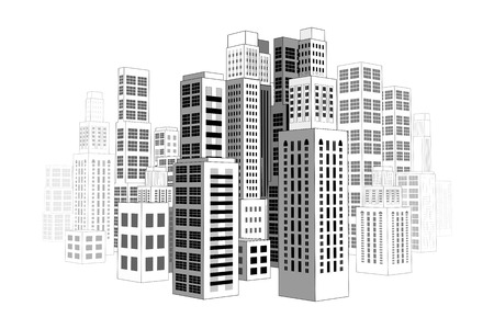 City with buildings and skyscrapers