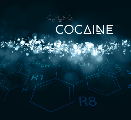 Cocaine powder with the chemical formula