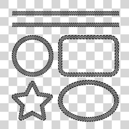 Tire tracks frame set. Vector illustration on checkered background