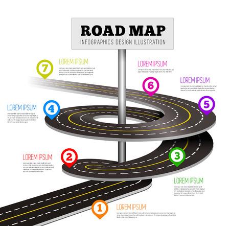 Illustration pour Road way design infographics. Vector illustration on white - image libre de droit