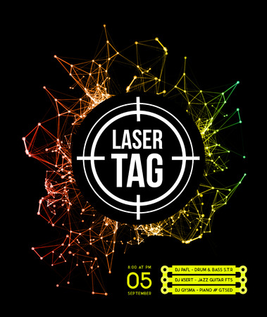 Ilustración de Laser tag with target.on a background of multi-colored laser beams. Vector illustration - Imagen libre de derechos