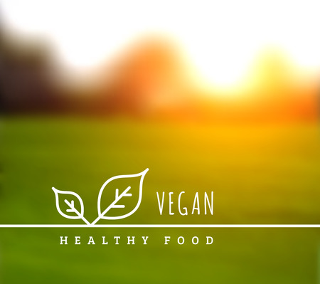 Concept of natural vegetarian health food. Vector illustration with leaves