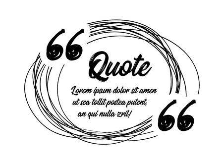 Illustration pour Drawn quotes and a frame to highlight the frame, quotes and other text in the article, or as a separate element. Vector illustration on white background - image libre de droit