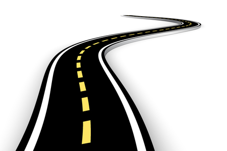 Illustration pour Leaving the highway, curved road with markings. 3D vector illustration on white background - image libre de droit