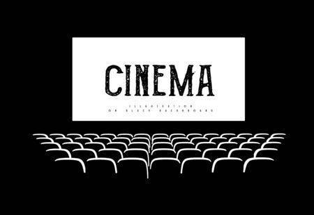 Illustration pour Hall for watching movies. Cinema. Concert hall. Vector 3d illustration - image libre de droit