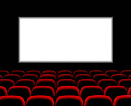 Illustration for Hall for watching movies. Cinema. Concert hall. Vector 3d illustration on dark background - Royalty Free Image