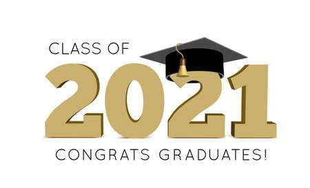 Illustration pour Graduation Class of 2021 with cap. Vector illustration - image libre de droit