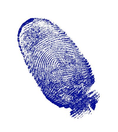 finger-print man, done on the white sheet of paper a blue paint