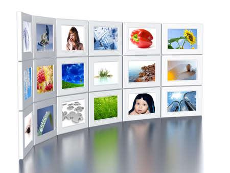 Photo pour Set of monitors with static colourful and bright images - image libre de droit