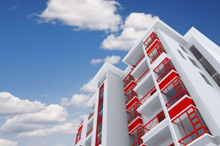 Photo pour high modern residential building on a background sky and clouds - image libre de droit