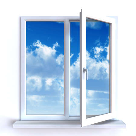 Open window against a white wall and the cloudy sky and sun