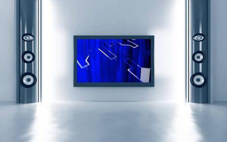 Photo pour Modern home theatre with the plasma TV and floor acoustics - image libre de droit
