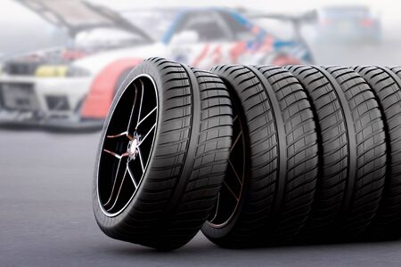 Photo pour racing tires for all seasons and bad weather - image libre de droit