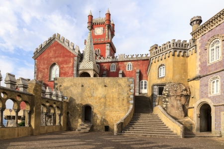 The Pena National Palace  Palacio da Pina  is the residence of the Portuguese kings  It is located in Sintra not far from Lisbon, Portugal