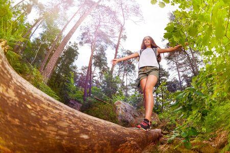 Photo pour Girl walks over the log balancing with hands - image libre de droit