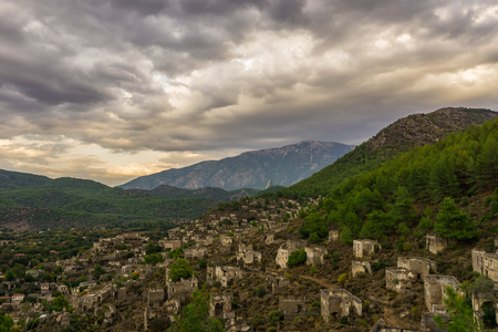 The abandoned Lycian village of Kayakoy, Fethiye, Mugla, Turkey. Ghost Town Kayaköy, anciently known as Lebessos and Lebessus. 3000 Greek life in the 19th century.