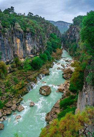 Foto per Turquoise Koprucay river landscape from Koprulu Canyon National Park in Manavgat, Antalya, Turkey. - Immagine Royalty Free