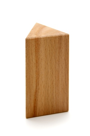 wooden geometric shapes triangular prism  isolated on a white background